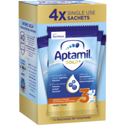 Photo of Aptamil Gold+ 3 Toddler Milk Drink Powder Sachets From 1 Year 4 Pack 38g