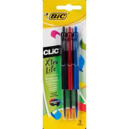 Photo of Bic Clic 2000 Retractable Medium Point Assorted Colours 3pk