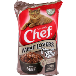 Photo of Chef Cat Food Pouch Meatlovers Glaze Beef 4 Pack