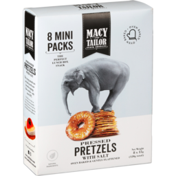 Photo of Macy And Tailor Pressed Pretzels With Salt Mini Packs 8 Pack 120g