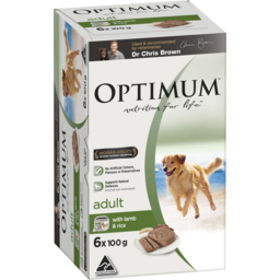 Photo of Optimum Wet Dog Food With Lamb & Rice 6x100g Trays