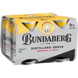 Photo of Bundaberg Bundy & Cola 9% Can 250ml 4 Pack