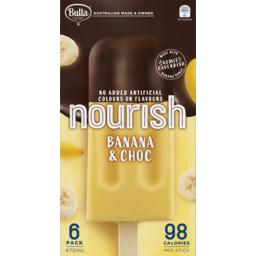 Photo of Bulla Ice Cream Nourish Banana & Choc 6 Pack 470ml
