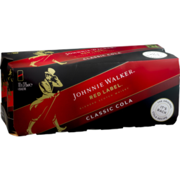 Photo of Johnnie Walker Red Label & Cola Cans 4.6% 375ml 10 Pack