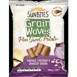 Photo of Sunbites Grainwaves Plus Sweet Potato Vintage Cheddar & Spanish Onion 180g