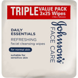 Photo of Johnson & Johnson Johnson's Daily Essentials Facial Cleansing Wipes Normal Skin 25x3