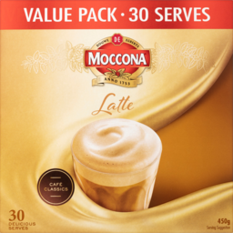 Photo of Moccona Latte Coffee Sachets Value Pack 30 Serves 450g