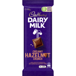 Photo of Cadbury Dairy Milk Creamy Hazelnut Crunch Milk Chocolate Block 170g