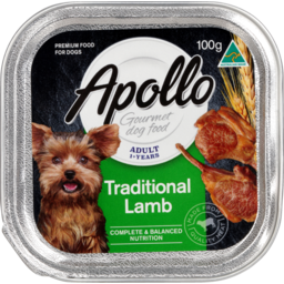 Photo of Apollo Gourmet Dog Food, Adult 1+ Years, Traditional Lamb 100g