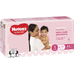 Photo of Huggies Ultra Dry Nappies, Girls, Size 3 Crawler (6-11kg), 44 Nappies Bulk Packs