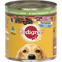 Photo of Pedigree Wet Dog Food With Beef, Pasta & Vegies Homestyle 700g Can