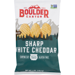 Photo of Boulder Canyon Potato Chips, Kettle Cooked, Sharp White Cheddar, Canyon Cut, Bag