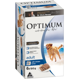 Photo of Optimum With Chicken & Rice Adult Dog Food 6x100g