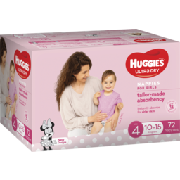 Photo of Huggies Ultra Dry Nappies Girls Size 4 (10-15kg) 72 Pack (Jumbo)