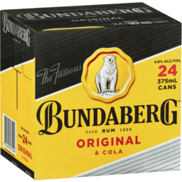 Photo of Bundaberg Original Rum & Cola 24 Pack 375ml