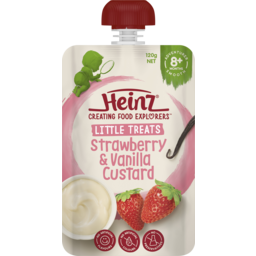 Photo of Heinz Little Treats Strawberry & Vanilla Custard Baby Food Pouch 8+ Months 120g