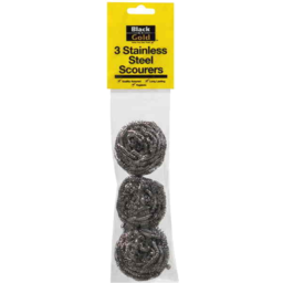 Photo of Black & Gold Scourers Stainless Steel 3pk