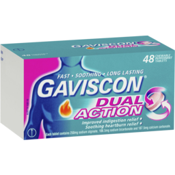 Photo of Gaviscon Dual Action Chewable Tablets Peppermint Heartburn & Indigestion Relief 48 Pack