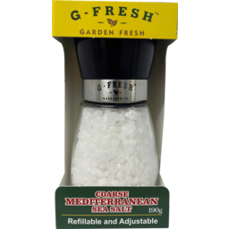 Photo of G Fresh Coarse Mediterranean Sea Salt Grinder Refillable & Adjustable 190g