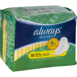 Photo of Always Ultra Thin Regular With Wings Unscented Pads 18 Count