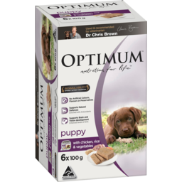 Photo of Optimum With Chicken Rice & Vegetables Puppy Dog Food 6x100g