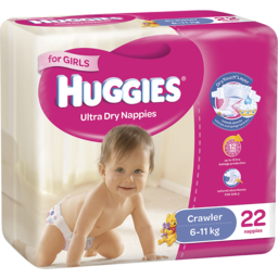 Photo of Huggies Ultra Dry Nappies Crawler Girls 22pk