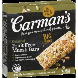 Photo of Carmans Original Fruit Free Muesli Bars 6pk 270g