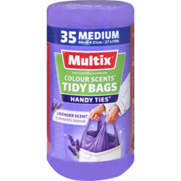 Photo of Multix Colour Scents Handy Ties Tidy Bags Medium 35 Pack | Lavender Scent