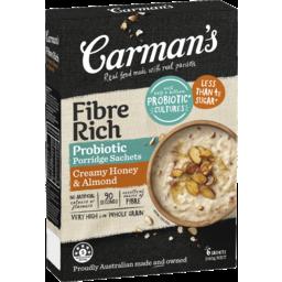Photo of Carman's Fibre Rich Probiotic Porridge Sachets Creamy Honey & Almond 6pk