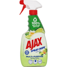 Photo of Ajax Spray N' Wipe Multi-Purpose Antibacterial Trigger Surface Spray Disinfectant Cleaner Zesty Lime 475ml
