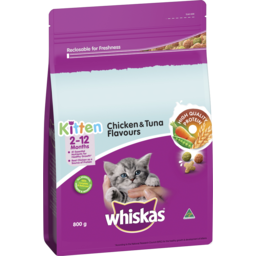 Photo of WHISKAS KITTEN DRY CAT FOOD CHICKEN AND TUNA FLAVOURS 800GM BAG
