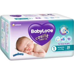 Photo of Babylove Cosifit Newborn Nappies 28pk