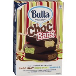 Photo of Bulla Chocolate Coated Vanilla, Chocolate Mint & Chocolate Malt Variety Ice Cream 10pk