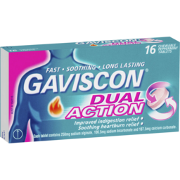 Photo of Gaviscon Dual Action Chewable Tablets Peppermint Heartburn & Indigestion Relief 16 Pack