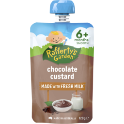 Photo of Raffertys Garden Old Fashioned Chocolate Custard Premium Baby Food 120g