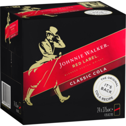 Photo of Johnnie Walker Red & Cola Cans - 24 X 375ml