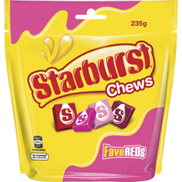 Photo of Starburst Favereds Fruit Chews Lollies Large Bag 235g