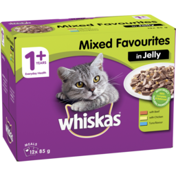 Photo of Whiskas 1+ Wet Cat Food With Mixed Favourites In Jelly 12x85g Pouches