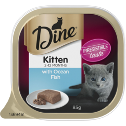 Photo of Dine Kitten With Ocean Fish Wet Cat Food 85g Tray