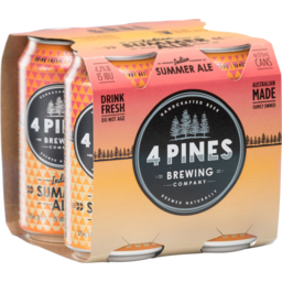 Photo of 4 Pines Indian Summer Ale 4 Pack 375ml Cans