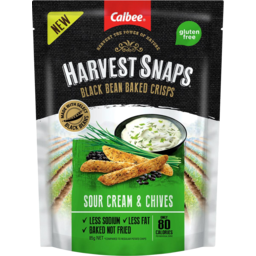 Photo of Calbee Harvest Snaps Black Bean Sour Cream & Chives Crisps 85g