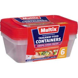 Photo of Multix Takeaway Food Containers 6x750ml