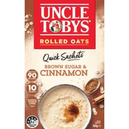 Photo of Uncle Tobys Oats Brown Sugar & Cinnamon Quick Sachets 10 Pack 350g