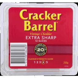 Photo of Cracker Barrel Vintage Cheddar Extra Sharp 12 Slices 250g