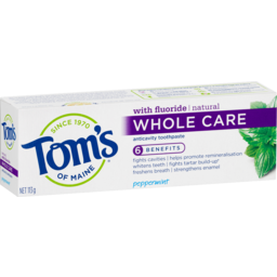 Photo of Tom's Of Maine Natural Whole Care Fluoride Anticavity Toothpaste No Artificial Flavours Peppermint 113g