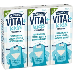 Photo of Devondale Vital + Kids Vanilla Thrilla Long Life Vitamin Milk 3x200ml
