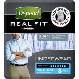 Photo of Depend Real Fit Underwear Male Medium 8 pack