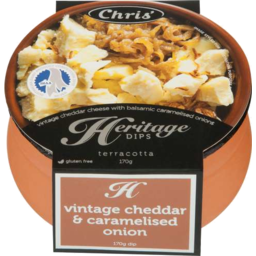 Photo of Chris Heritage Cheese Range Vintage Cheddar & Caramelised Onion 170gm