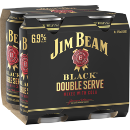 Photo of Jim Beam Black Double Serve & Cola Can 4 Pack