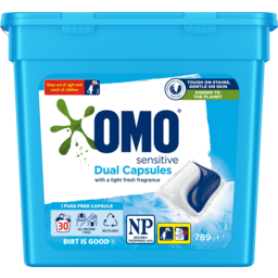 Photo of Omo Dual Sensitive With A Light Fresh Fragrance Laundry Liquid Capsules Tub 30 Pack 789g